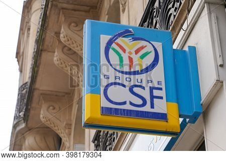 Bordeaux , Aquitaine  France - 12 01 2020 : Csf Sign Text And Logo Front Of French Office Personal C