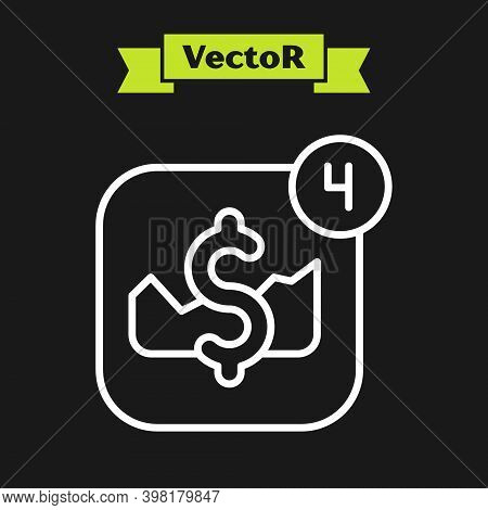 White Line Mobile Stock Trading Concept Icon Isolated On Black Background. Online Trading, Stock Mar