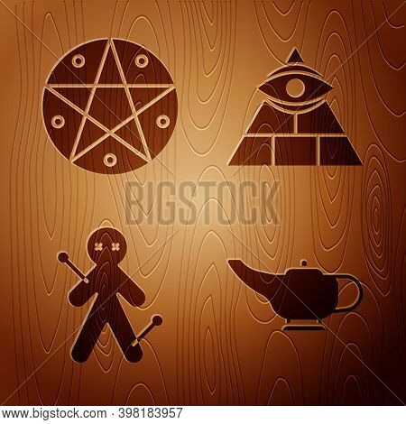 Set Magic Lamp Or Aladdin, Pentagram In A Circle, Voodoo Doll And Masons On Wooden Background. Vecto