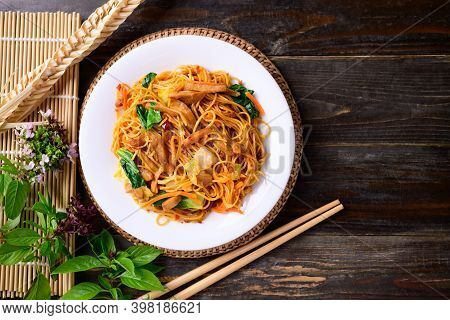 Asian Food, Vegetarian Stir Fried Noodles With Mushroom And Vegetables, Top View