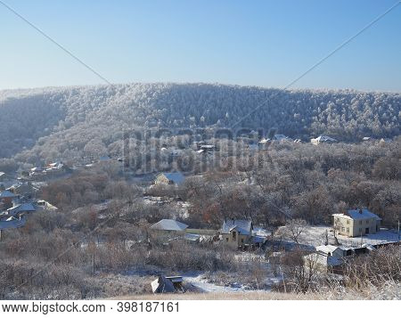 View From The Hill To Winter Landscape With Farmstead And Forest, Scenic Winter View To Valley, Tran