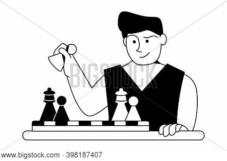 Chess Player. Man Reflects On Strategy Of Pawn Move. Vector Flat Outline Black White Illustration Is
