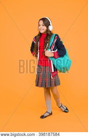 English Student. British Education Program. Learn Foreign Language. English Kid Backpack. Little Gir