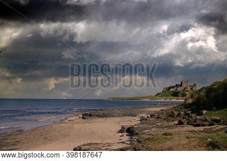 Bamburgh Castle, Northumberland Coast, Uk. Sky Adjusted.