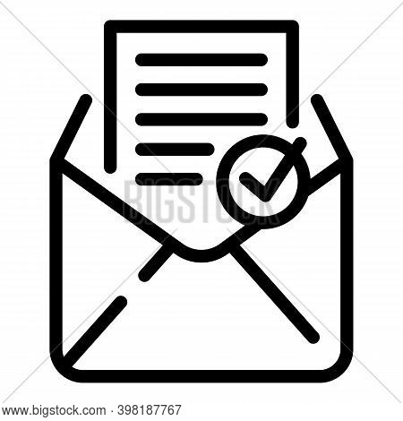 Approved Email Icon. Outline Approved Email Vector Icon For Web Design Isolated On White Background