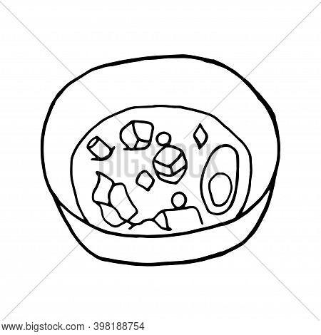 Vector Hand Drawn Doodle Miso Soup. Japanese Cuisine Dish. Design Sketch Element For Menu Cafe, Rest