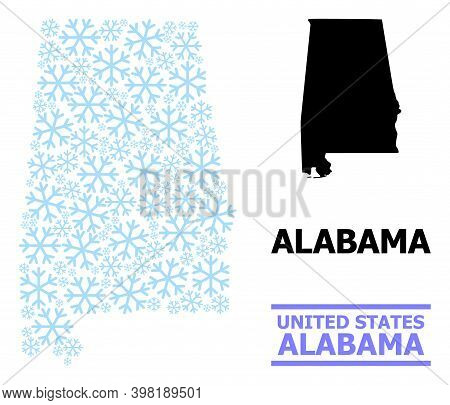 Vector Mosaic Map Of Alabama State Created For New Year, Christmas Celebration, And Winter. Mosaic M