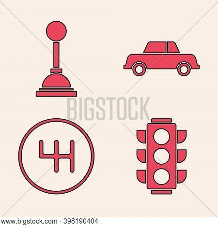 Set Traffic Light, Gear Shifter, Car And Gear Shifter Icon. Vector