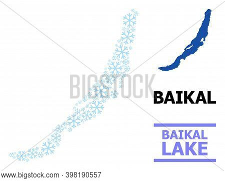 Vector Mosaic Map Of Baikal Constructed For New Year, Christmas Celebration, And Winter. Mosaic Map