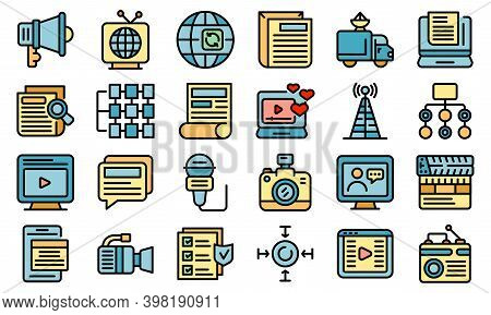 Actualization Icons Set. Outline Set Of Actualization Vector Icons Thin Line Color Flat On White