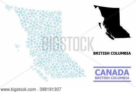 Vector Mosaic Map Of British Columbia Province Organized For New Year, Christmas Celebration, And Wi