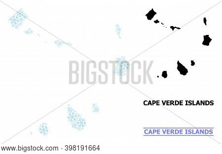 Vector Mosaic Map Of Cape Verde Islands Combined For New Year, Christmas Celebration, And Winter. Mo