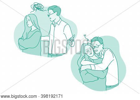 Misunderstanding, Quarrelling, Reconciliation Concept. Young Couple First Quarrelling And Having Sca