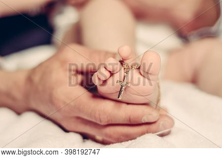 Baptism Of A Baby, Close Up Of Tiny Baby Feet, Sacrament Of Baptism.