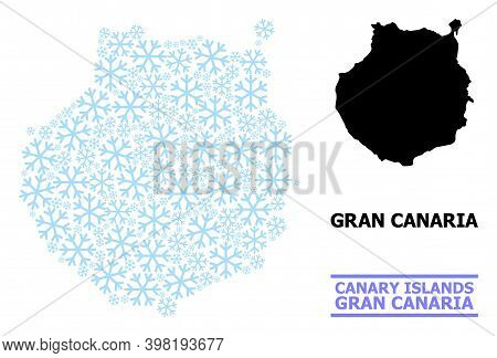 Vector Composition Map Of Gran Canaria Constructed For New Year, Christmas Celebration, And Winter.
