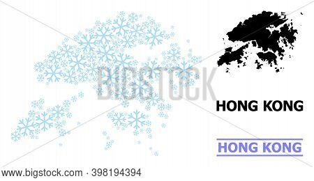 Vector Mosaic Map Of Hong Kong Combined For New Year, Christmas Celebration, And Winter. Mosaic Map