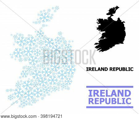 Vector Mosaic Map Of Ireland Republic Done For New Year, Christmas Celebration, And Winter. Mosaic M