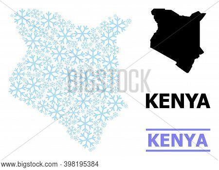 Vector Mosaic Map Of Kenya Created For New Year, Christmas Celebration, And Winter. Mosaic Map Of Ke