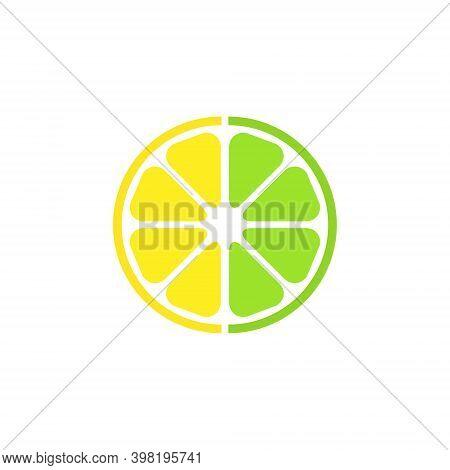 Citrus Half Fruit Symbol. Lemon Slice Outline Sign. Vector Lime Organic Illustration Isolated On Whi
