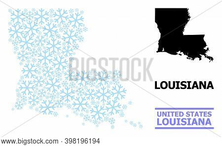 Vector Mosaic Map Of Louisiana State Done For New Year, Christmas Celebration, And Winter. Mosaic Ma