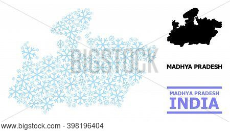 Vector Mosaic Map Of Madhya Pradesh State Organized For New Year, Christmas Celebration, And Winter.