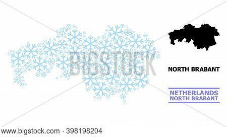 Vector Mosaic Map Of North Brabant Province Created For New Year, Christmas Celebration, And Winter.