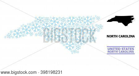 Vector Mosaic Map Of North Carolina State Combined For New Year, Christmas Celebration, And Winter.