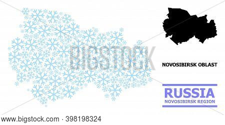 Vector Mosaic Map Of Novosibirsk Region Organized For New Year, Christmas Celebration, And Winter. M