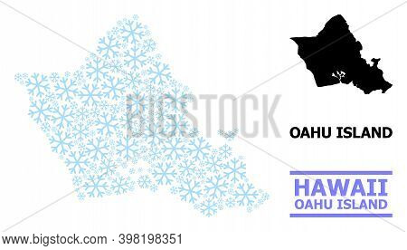 Vector Mosaic Map Of Oahu Island Designed For New Year, Christmas Celebration, And Winter. Mosaic Ma