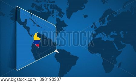Location Of Colombia On The World Map With Enlarged Map Of Colombia With Flag. Geographical Vector T