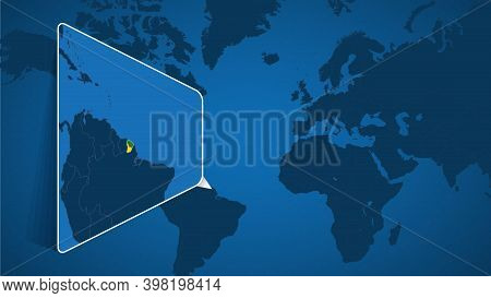Location Of French Guiana On The World Map With Enlarged Map Of French Guiana With Flag. Geographica