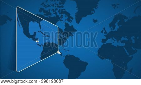 Location Of Nicaragua On The World Map With Enlarged Map Of Nicaragua With Flag. Geographical Vector