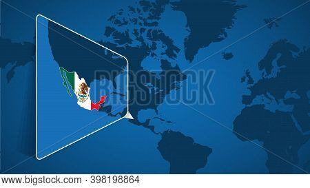 Location Of Mexico On The World Map With Enlarged Map Of Mexico With Flag. Geographical Vector Templ