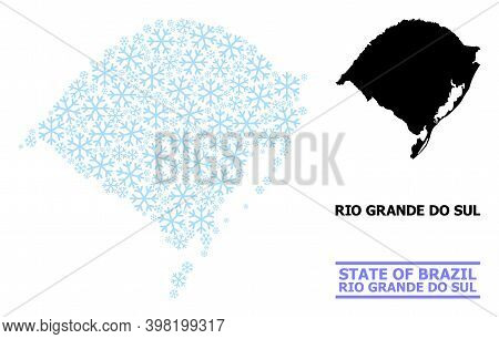 Vector Mosaic Map Of Rio Grande Do Sul State Designed For New Year, Christmas Celebration, And Winte