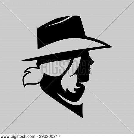 Cowgirl Portrait Side View Symbol On Gray Backdrop. Design Element