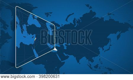 Location Of Lebanon On The World Map With Enlarged Map Of Lebanon With Flag. Geographical Vector Tem