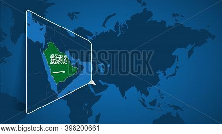 Location Of Saudi Arabia On The World Map With Enlarged Map Of Saudi Arabia With Flag. Geographical