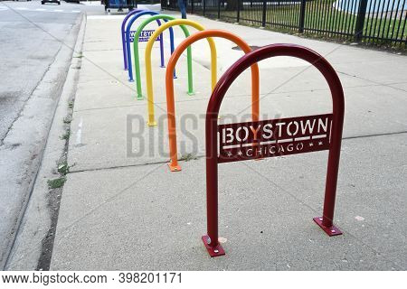 Chicago, Il August 3rd, 2020, Rainbow Colored Bike Racks In Chicago's Boystown (now Northalsted) Nei