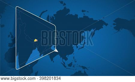Location Of Bhutan On The World Map With Enlarged Map Of Bhutan With Flag. Geographical Vector Templ