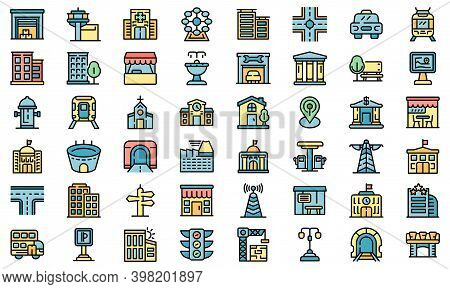 City Infrastructure Icons Set. Outline Set Of City Infrastructure Vector Icons Thin Line Color Flat