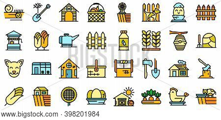 Village Icons Set. Outline Set Of Village Vector Icons Thin Line Color Flat On White