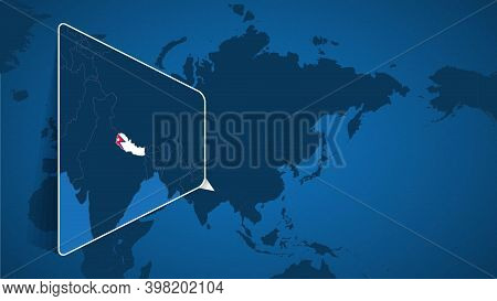 Location Of Nepal On The World Map With Enlarged Map Of Nepal With Flag. Geographical Vector Templat