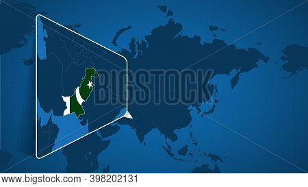 Location Of Pakistan On The World Map With Enlarged Map Of Pakistan With Flag. Geographical Vector T