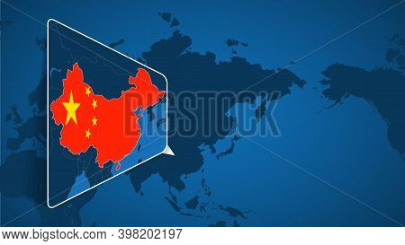 Location Of China On The World Map With Enlarged Map Of China With Flag. Geographical Vector Templat