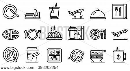 Airline Food Icons Set. Outline Set Of Airline Food Vector Icons For Web Design Isolated On White Ba