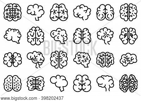 Human Brain Icons Set. Outline Set Of Human Brain Vector Icons For Web Design Isolated On White Back