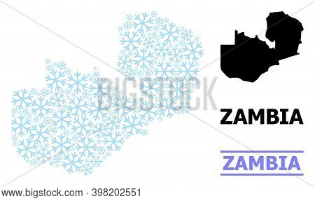 Vector Mosaic Map Of Zambia Designed For New Year, Christmas Celebration, And Winter. Mosaic Map Of