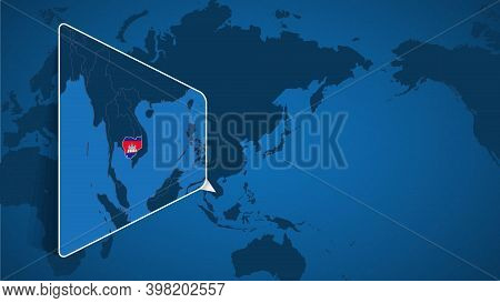 Location Of Cambodia On The World Map With Enlarged Map Of Cambodia With Flag. Geographical Vector T