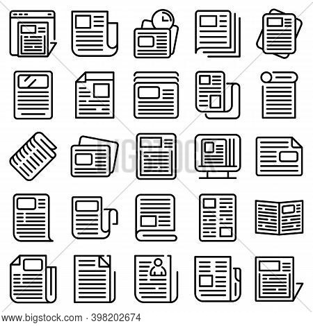 Newspaper Icons Set. Outline Set Of Newspaper Vector Icons For Web Design Isolated On White Backgrou