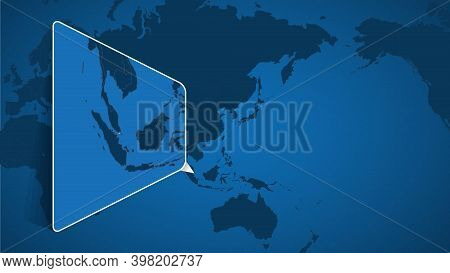 Location Of Singapore On The World Map With Enlarged Map Of Singapore With Flag. Geographical Vector